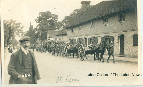 the 5th Bedfordshire Regiment march through Houghton Regis in 1914