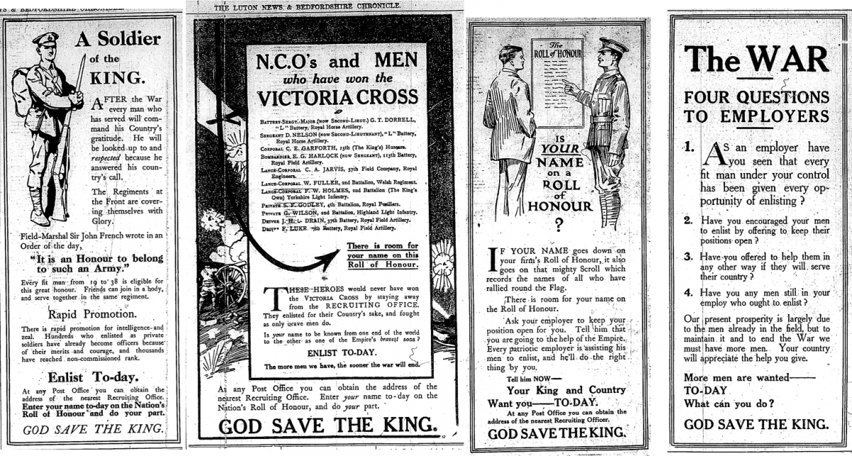 Luton News Adverts September 1914