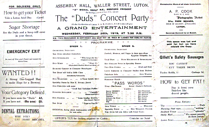 'Duds' Concert Party programme