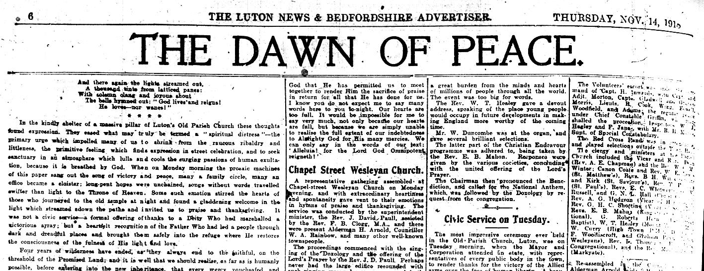 Luton News Armistice story