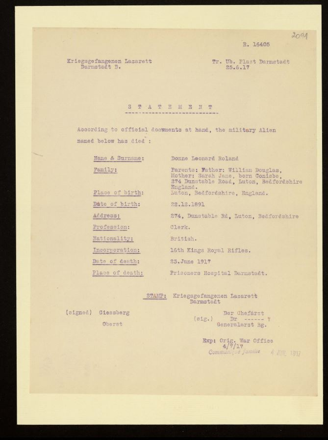 Notification of Death from the Red Cross for Leonard Donne