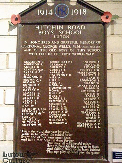 Hitchin Road Boys'School war memorial