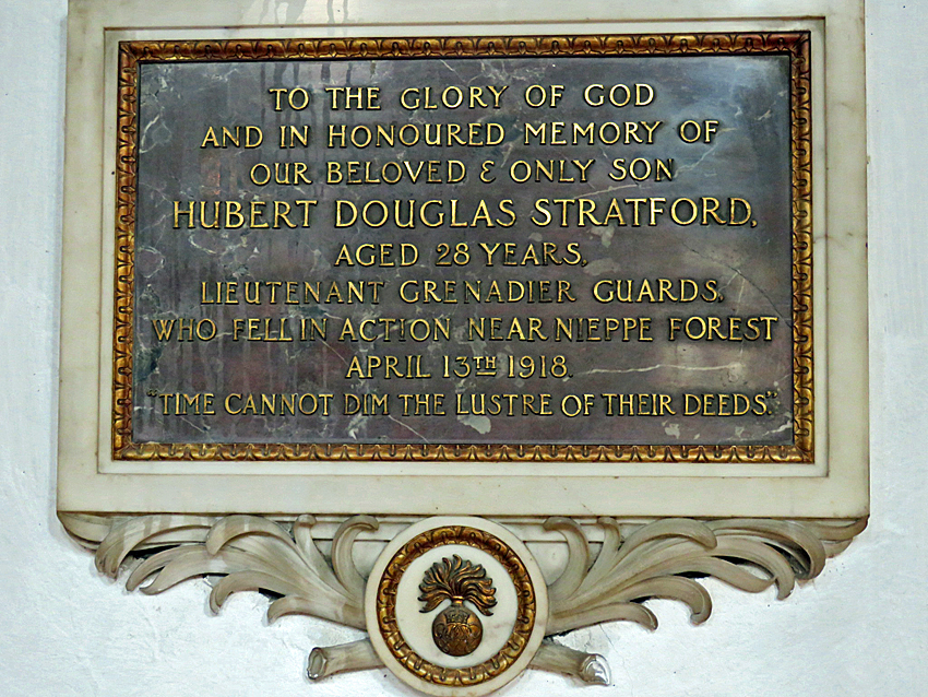 Hubert Stratford memorial, St Mary's