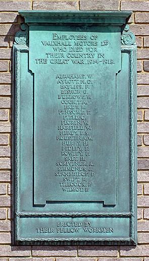 Vauxhall WW1 war memorial