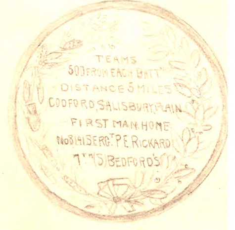 Tracing of medal awarded to Percy Rickard