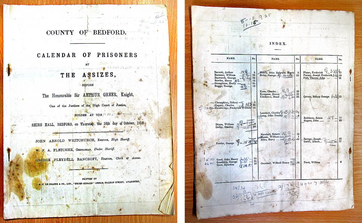 Assizes calendar of prisoners