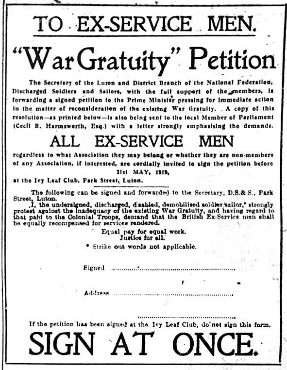 War gratuity petition form