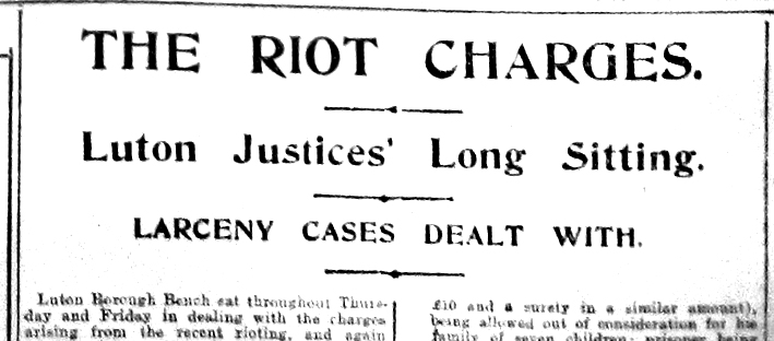 Riot charges heading - ST 2-8-1919