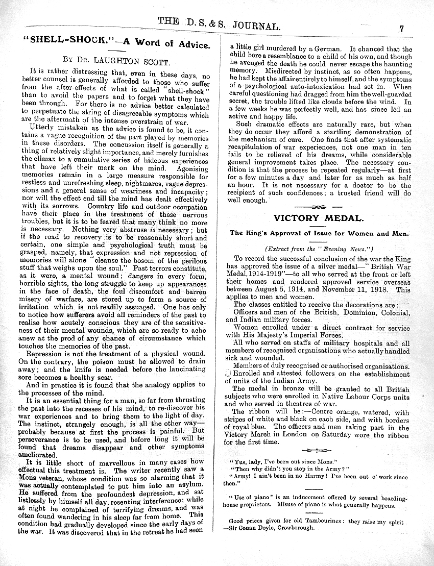 DS&S shell-shock article 26-7-1919