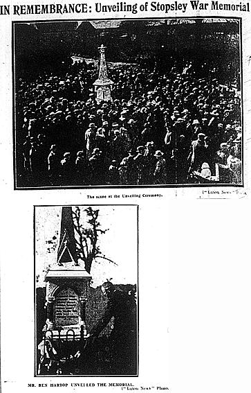 Stopsley War Memorial unveiling