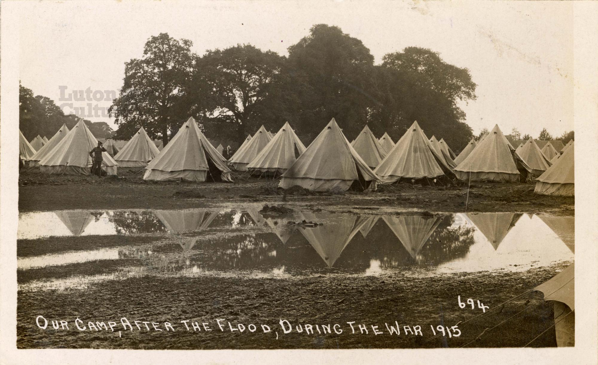 Flooded tented camp at Biscot