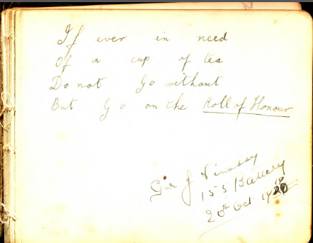 Page of YMCA guestbook
