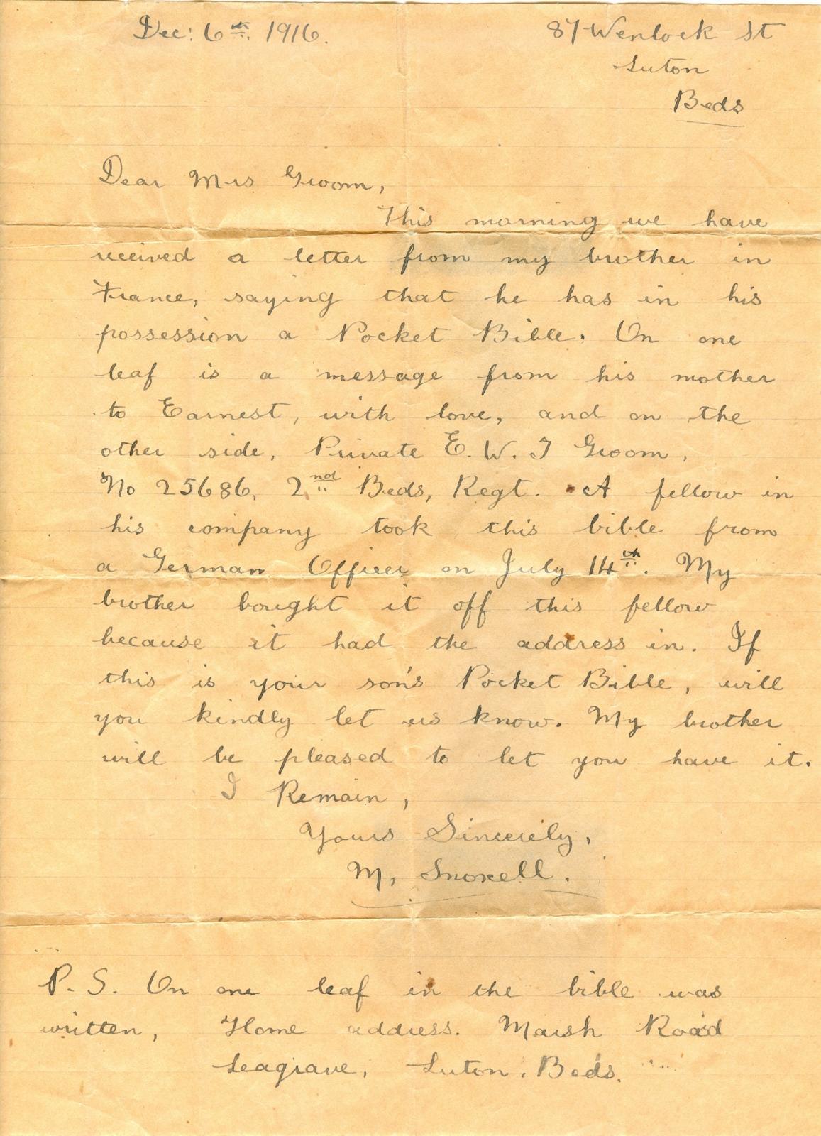 Letter accompanying Ernest Groom's pocket Bible