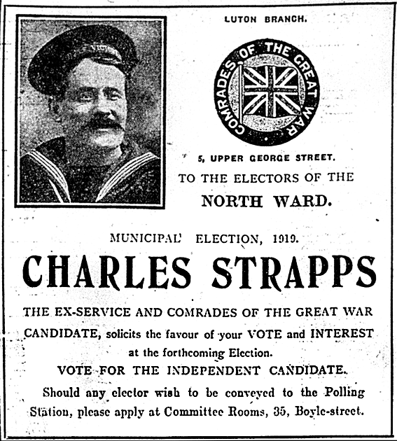 Strapps election ad, October 30th, 1919