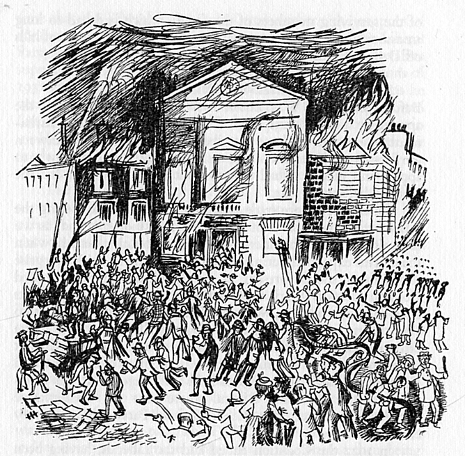 Town Hall burning