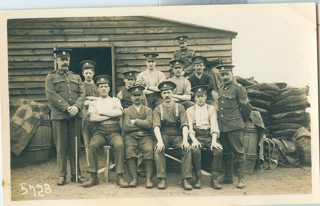 Soldiers outside a hut, possible Biscot Camp Luton