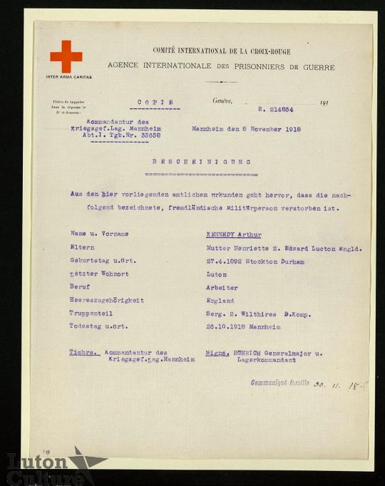 Kennedy POW death report