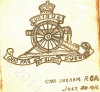 Page from Guestbook showing Royal Field Artillery crest