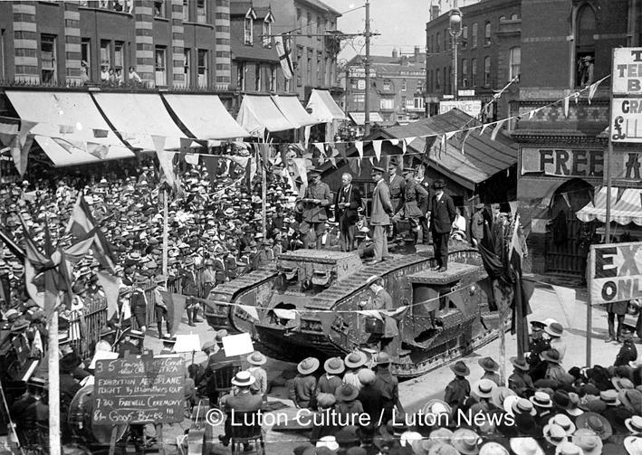 Tank on Market Hill WW1 Luton