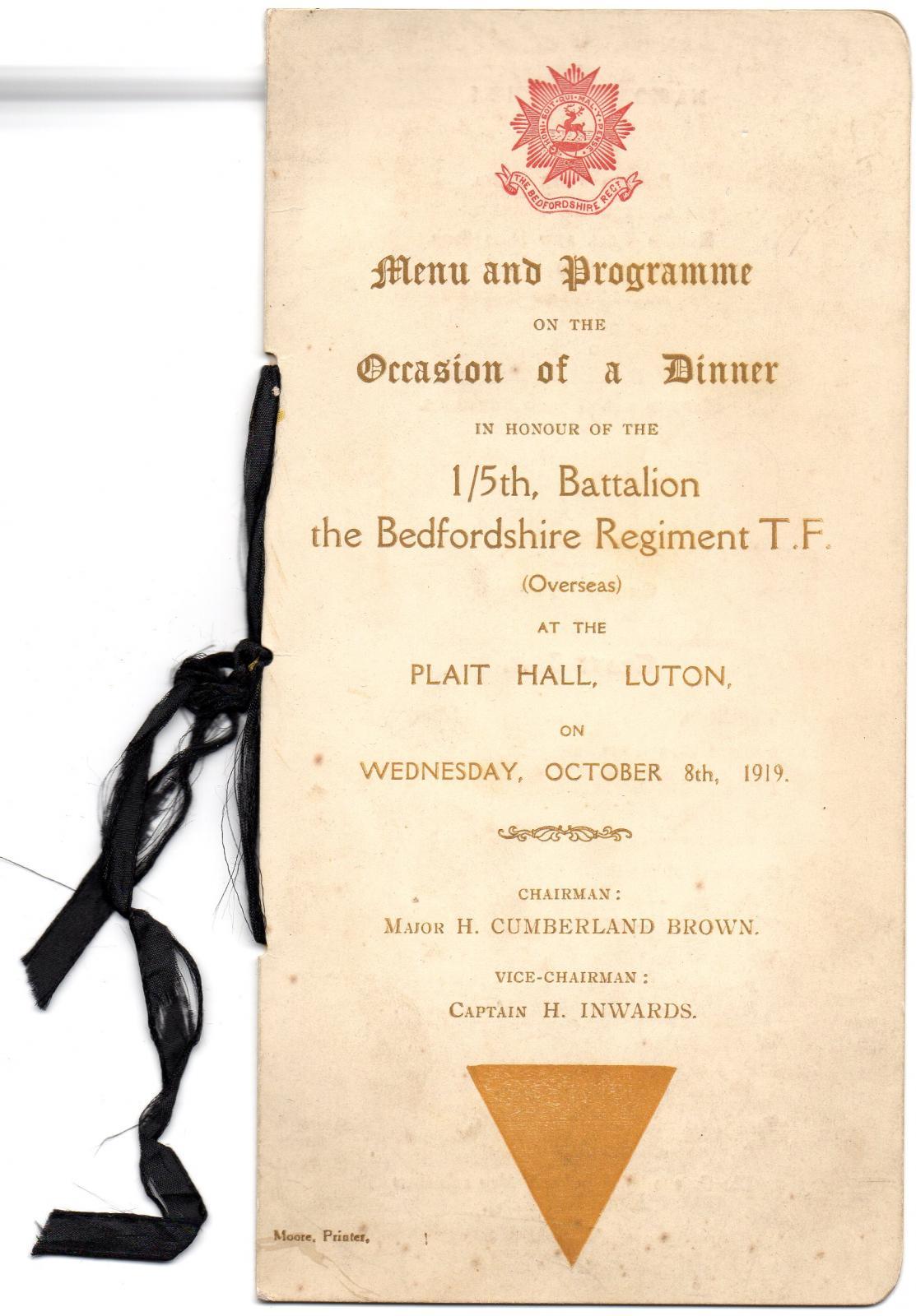 Dinner in Honour of 1/5 Battalion Bedfordshire Reg. 8 October 1919