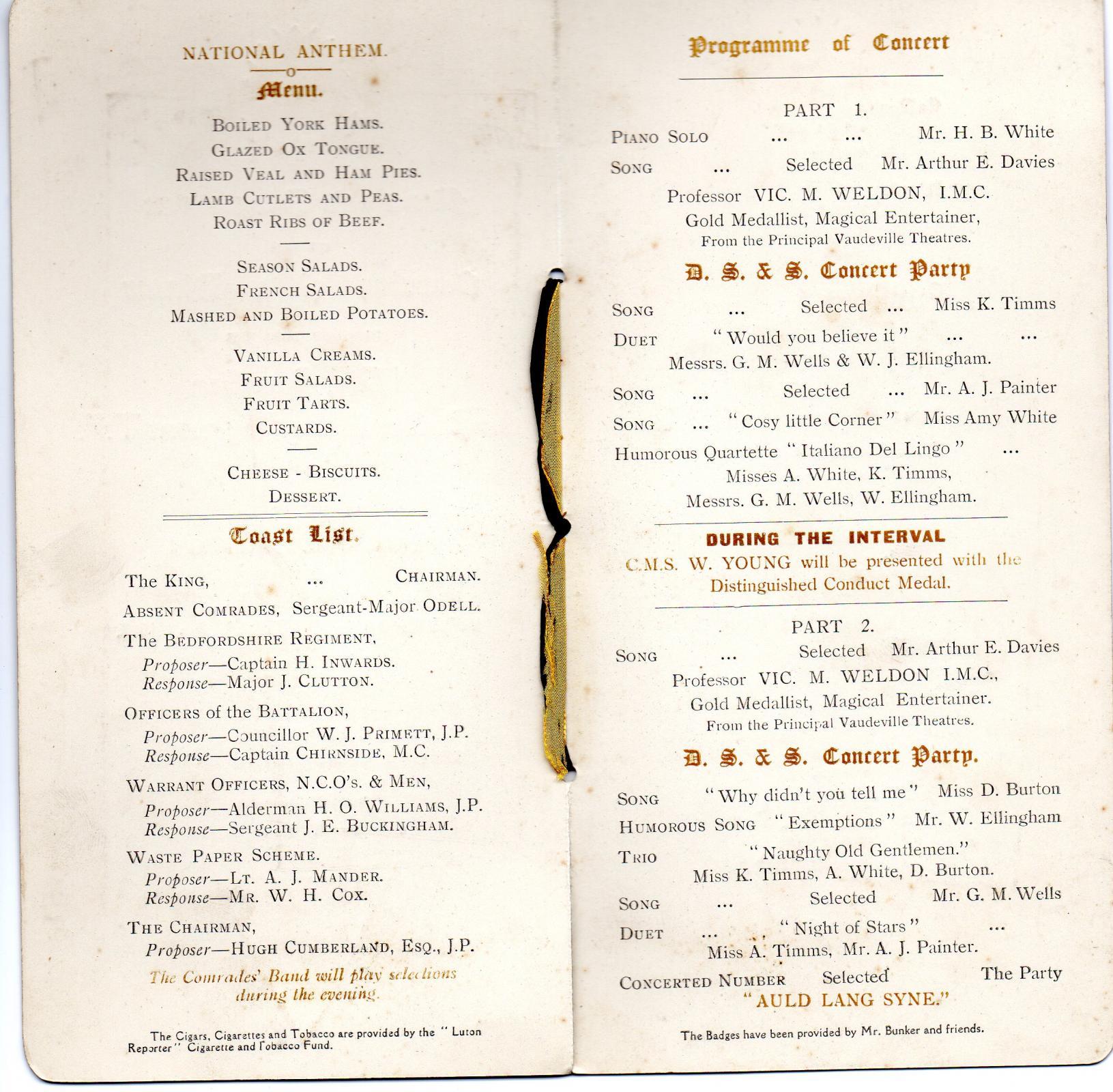 Dinner 8 October 1919  Menu/Toast/ Concert