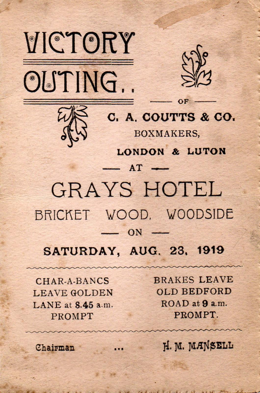 Victory outing of C A Coutts on 23 August 1919