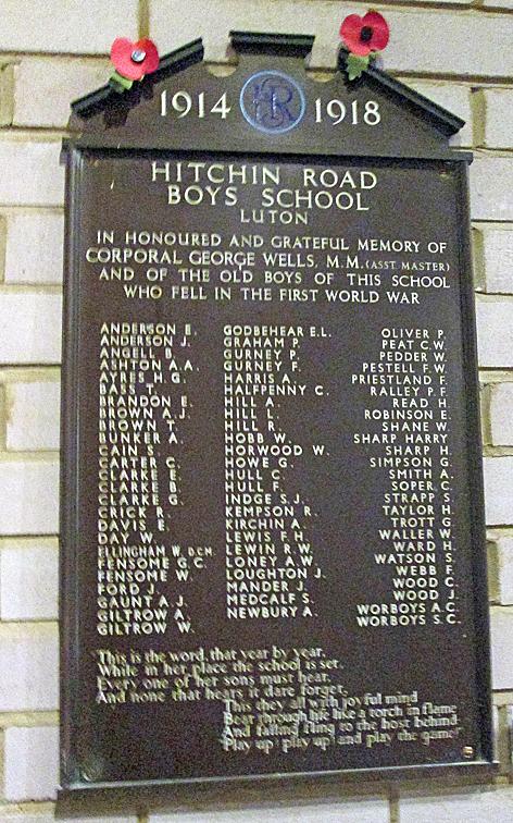 Hitchin Road Boys' School memorial