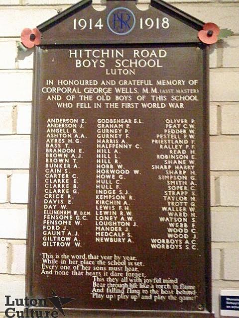 Hitchin Road Boys'School war memorial