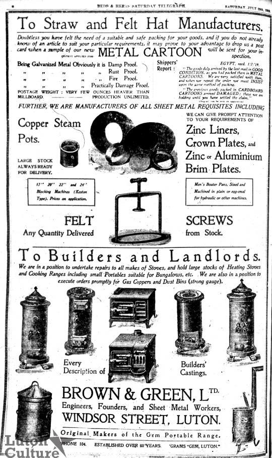 Brown & Green advert 1919