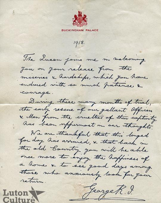 Letter to repatriated PoWs