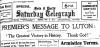 Armistice Day Saturday Telegraph 1918